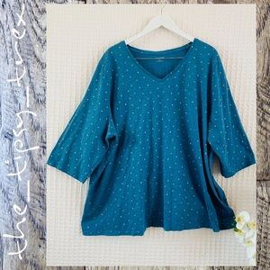 Catherines Teal and Gold Polka Dot Tunic 26/28W